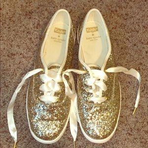 Gold sparkly Kate spade keds!!!